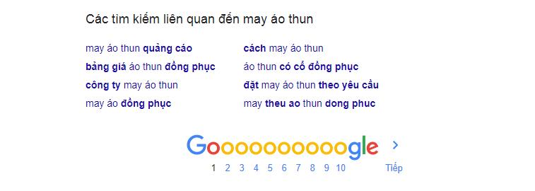 Gợi ý từ khóa SEO từ Google